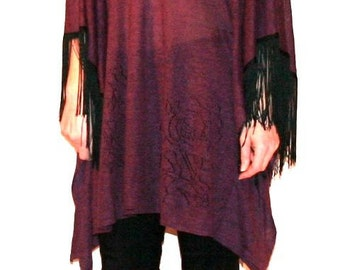 Cool Vintage Boho Poncho Sweater with Fringe- L/XL
