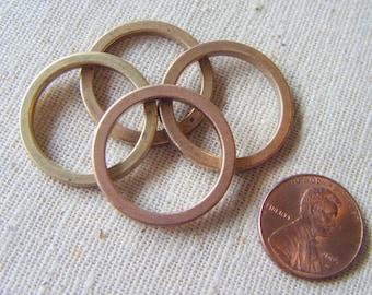Vintage Medium Raw Brass Flat Ring Connectors (6) Geometric, Deco, Industrial