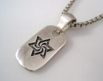 Hexagram ezi zino star of david dog tag & box chain necklace Pendant sterling silver 925