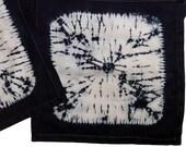 Two dark navy cotton shibori napkins