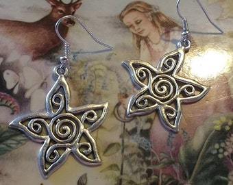 Spiral Star Earrings, Tibetan Silver Star