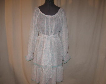 Vintage Style White Sheer Seafoam Green Lavender Floral Belted Peasant Top and Tiered Skirt 2 Piece Dress Small Medium in Vintage Fabric