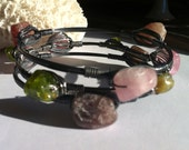 Chunky Tourmaline Bangles, Rough Gemstone Bangles, Pinks and Greens, Oxidized Sterling Silver Stacking Bangles