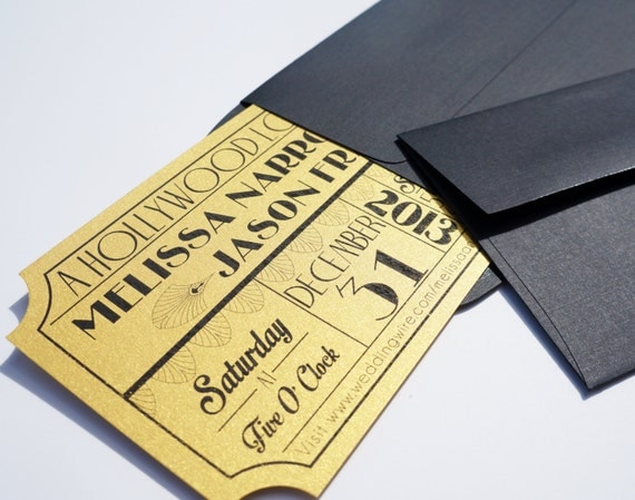 Movie Ticket Wedding Invitations with adorable invitation example