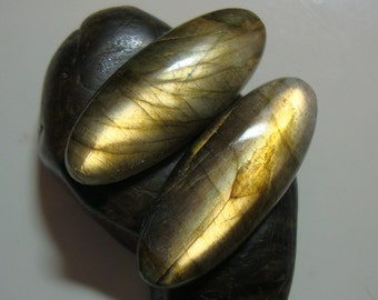 Labradorite Smooth Oval Cabochon, One Pair, 25x10mm, AAA, Amazing Fiery Copper Gold Flash - J23-3