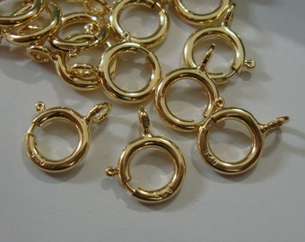 Bulk 25 pcs, 5.5 mm, 18K Gold Sterling Silver Spring Clasp with Open Ring
