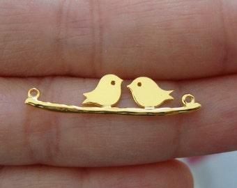 Handmade 24K Gold Vermeil over Sterling Silver, Love Birds Skylark Connectors, Two Birds On Branch, Kissing Birds, 1 pc PC-0004