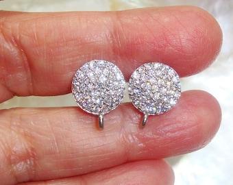 13x10mm, 2 pcs, 925 Sterling Silver Diamond White CZ Ear Post with Ear Nuts, Open Loop, Earrings Findings, Terra Finds Design - EP-0006