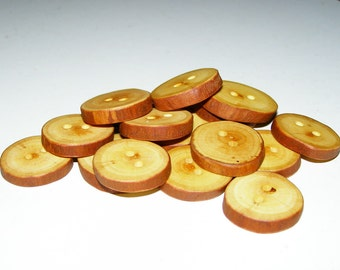 "16 Handmade  apple wood buttons, accessories (1,1"" diameter x 0,20"" thick)"