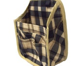 Hanging Car Organizer in black and tan plaid