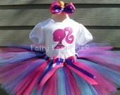 Custom Tutus... BARBIE SILHOUETTE with BLUE....size 3,6,9,12,18,24 months and 2T,3T,4T,5T,6T years,costume, birthday, dress up