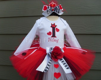 Custom Tutus...QUEEN of HEARTS red..Tutu Set.. alice in wonderland.3,6,9,12,18,24 months and 2T,3T,4T,5T,6, birthday, dress up