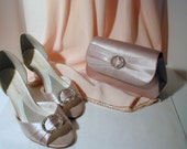 Matching Satin Clutch Purse and Satin Shoes with Rhinestones