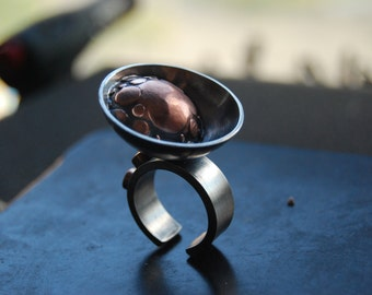 Satellite dish, sterling silver, oxidized, industrial ring, size 8