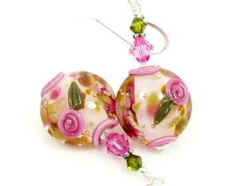 Pink Floral Earrings, Lampwork Earrings, Glass Earrings, Glass Bead Earrings, Beadwork Earrings, Flower Earrings, Lampwork Jewelry