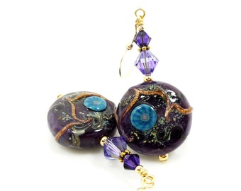 Purple Earrings, Lampwork Earrings, Glass Earrings, Glass Bead Earrings, Gold Filled Earrings, Beadwork Earrings, Unique Earrings