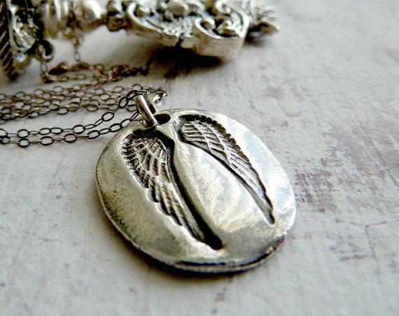 Silver Guardian Angel Wing Necklace. Inscribed Ask Believe Receive. Fine Silver Jewelry. Artisan Jewelry