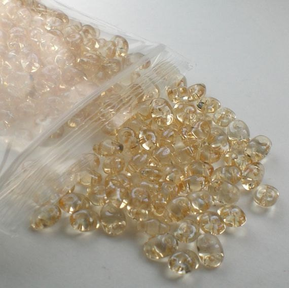 Gold Lined Super Duo Czech Beads Two Hole Seed Beads 20 Grams SD-091