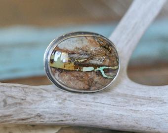 Turquoise Ring, Ribbon Turquoise, Nevada Nevada, Cocktail Ring, Bezel Set, Unique Pattern, Gemstone Ring, Size 7