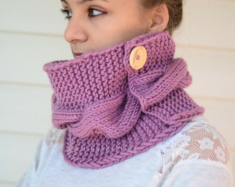 Purple Scarf, Hand Knit Neck Warmer, Cowl, Christmas Gift, Hand Knit Scarf, Neck Warmer, Wood Button,Cable Knit