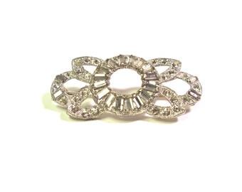 Vintage Art Deco Design Large Crystal Clear RHINESTONE  Pin Brooch