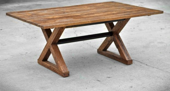Reclaimed Wood Dining Table - The Kinzua - Custom Furniture - Solid Hardwood - Handmade in the USA - Rustic - Clean lines - Classic