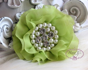 New: Reilly Collection, 2 pcs CELERY GREEN Soft Chiffon Ruffled Rhinestones Pearls Fabric Flowers - Layered Bouquet fabric flowers, Wedding