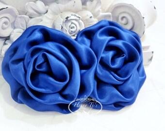 "2 pcs: 3"" Cobalt ROYAL Blue Adorable Rolled Satin Rose Rosettes Fabric flowers Appliques"