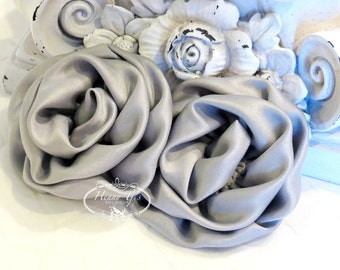 """2 pcs: 3"""" SILVER Grey Adorable Rolled Satin Rose Rosettes Fabric flowers Appliques"""