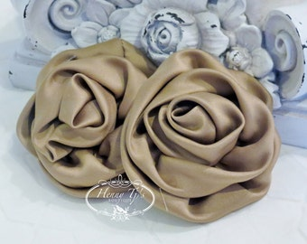"""2 pcs: 3"""" TAN Brown Adorable Rolled Satin Rose Rosettes Fabric flowers Appliques"""