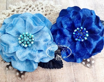 "NEW: Prima Flowers Plume ""Azure"" 575519 Blue and Royal Velvet Fabric Flower with Rhinestone center with leaves and Feathers."