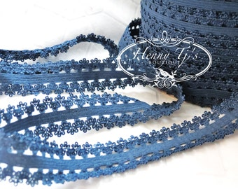 "5 Yds 1"" NAVY BLUE Frilly Edge Stretch Lace Headband Elastic - DIY Hair Accessories - Elastic Hair Ties Headband Supplies"