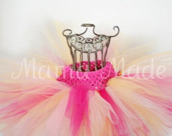 Fuchsia, White, Pink and Yellow Tutu,pink and yellow tutu,girls tutu,flower girl tutu,birthday tutu,wedding tutu,photo prop tutu,full tutu