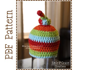 Top Knot Hat Crochet Pattern, 8 Sizes from Newborn to Adult, HARPER - pdf 310