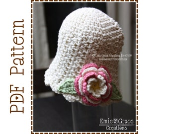 Crochet Flower Hat Pattern, 8 Sizes from Newborn to Adult, KATE - pdf 210