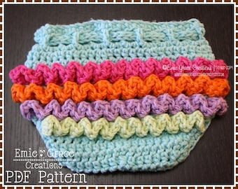 Crochet Ruffled Diaper Cover Pattern, 3 Sizes, LILY - pdf 709