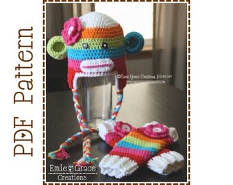 Sock Monkey Hat and Leg Warmers Crochet Pattern, 8 Sizes from Newborn to Adult, SUZY and SID - pdf 122, 703