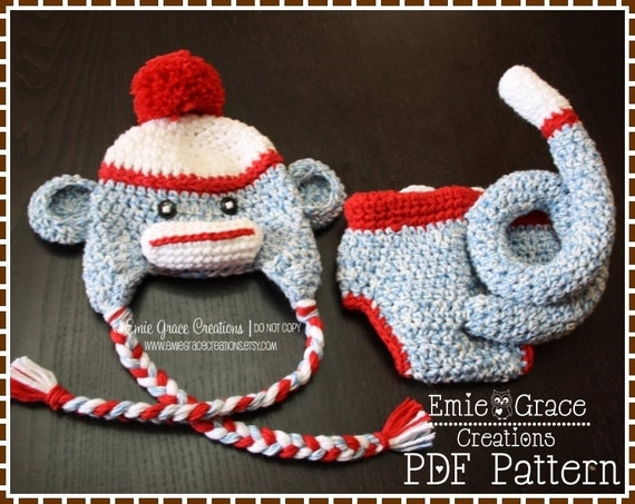 Crochet Sock Monkey Hat and Diaper Cover Pattern - Classic Curly Tail - 8 Sizes (Newborn to Adult) - SAM & SALLY - pdf 126, 702