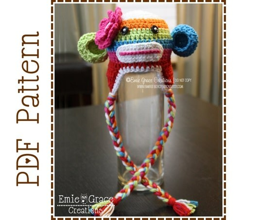 Crochet Sock Monkey Hat Pattern, Stripe Ear Flap, SUZY and SID Sock MONKEY - pdf 122