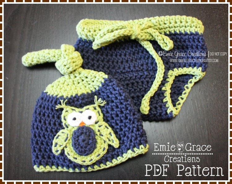 Top Knot Hat and Diaper Cover Crochet Pattern SET OWL 133