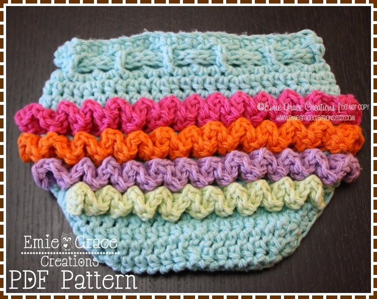 Free Crochet Pattern Diaper Cover With Ruffles : Crochet Ruffled Diaper Cover Pattern 3 Sizes LILY pdf 709