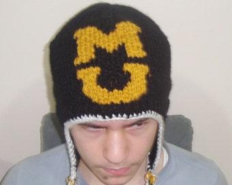 Mizzou Tigers Hat, MU, M, U, M and U Personalized Gift for Women Men Ready to ship Ear Flap Winter hat