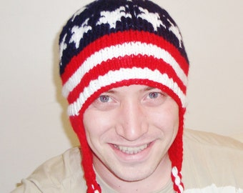 Knit Mens Hat with Ear Flaps Winter Hat with American Flag Stars and Stripes Red White Blue