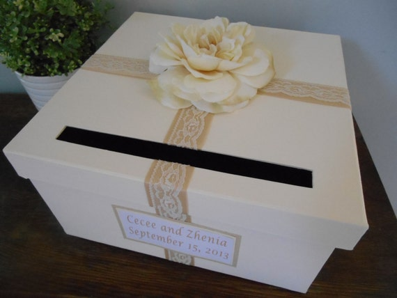 Gift Card Box For Wedding Reception : Champagne Wedding Card Box Lace Wedding Roses Reception Gift Card Box ...