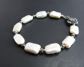 White Freshwater Pearl Bracelet Sterling Silver Pearl Bracelet Bridal Simple Everyday Jewelry