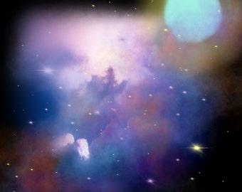 Original digital abstract art download - cosmic space art - digital space print - stars nebula modern  artwork