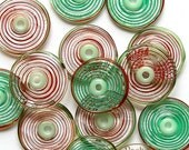 Lampwork Glass Disc Beads, FREE SHIPPING,Handmade Red and Green Glass Spiral Beads - Rachelcartglass