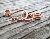 Fancy Solid Copper, NuGold or Sterling Silver Hook Clasp and Loop Connector 2 pc set