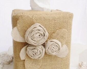 Linen rose burlap tissue box cover