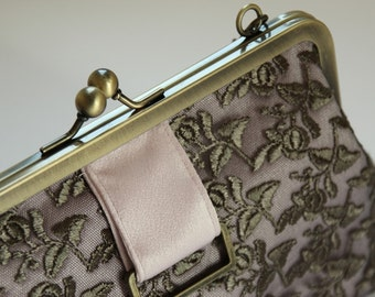 Bridal clutch/ evening purse/ soft pink satin grey lace/ bronze frame with chain